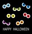 colorful eyes looking in dark cute cartoon vector image