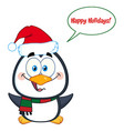 cute christmas penguin with open wings vector image vector image