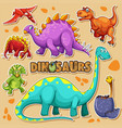 different types of dinosaurs on poster vector image vector image
