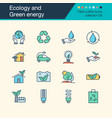 ecology and green energy icons filled outline vector image