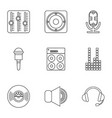 electronic music icons set outline style vector image vector image