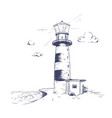 freehand drawing of beautiful seaside landscape vector image