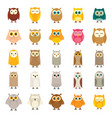 funny different forest owl collection vector image vector image