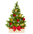 gift box with christmas tree vector image vector image