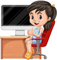 Girl sitting on chair by the computer vector image