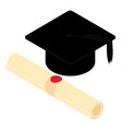 graduation hat mortarboard and diploma isolated vector image