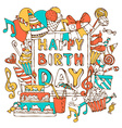 Hand-drawn Happy Birthday card vector image vector image
