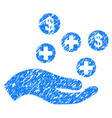 hand offer medical service grunge icon vector image vector image