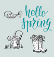 hello spring lettering card vector image