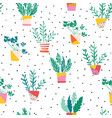 indoor plants in colorful ceramic pots seamless vector image