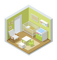 isometric child room with modern furniture the vector image vector image