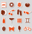 june month theme set of simple stickers eps10 vector image vector image