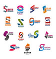 letter s icons with creative shape design isolated vector image vector image
