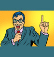 man pointing finger up vector image