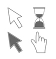 Mouse hand arrows and hourglass vector image