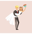 Newlyweds Man Holding Woman And Bouquet At The vector image vector image
