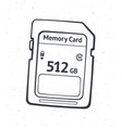 outline compact memory card flash drive vector image vector image