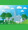 paper art of people and pets on green background vector image vector image