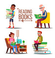 people reading books big stack of books vector image vector image