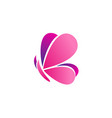 pink butterfly logo icon symbol design vector image