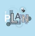 plan business strategy creative word over abstract vector image