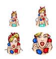 pop art woman or girl speaking gossip on phone vector image