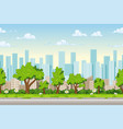 seamless cartoon city background with separate vector image vector image