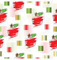 seamless pattern with apple and abstract squares vector image vector image