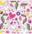 seamless pattern with beautiful little unicorns vector image