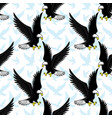 seamless pattern with flying bald eagles vector image