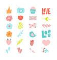 set decorative cute hand drawn elements vector image