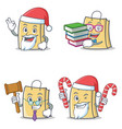 set of bag character with santa book judge candy vector image vector image