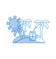 silhouette palms with beverage in the island on vector image