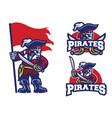skull pirates mascot set vector image vector image