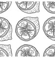 slices of lemons seamless pattern with hand drawn vector image vector image