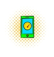 Smartphone with clock icon comics style vector image vector image