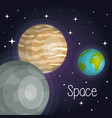 space planets cosmos galaxy stars design vector image