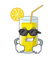 super cool glass fresh lemon juice on mascot vector image