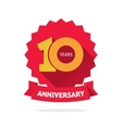 Ten year anniversary label 10 years vector image vector image