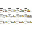 transportation line icon set vector image vector image