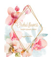 watercolor orchid bouquet with golden frame vector image vector image