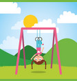 young girl playing with bar rings in the park and vector image