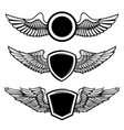 set of the empty emblems with wings design vector image