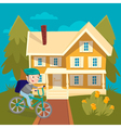 Happy Boy Riding Bicycle near the House Summer vector image