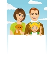 happy family holding a white blank billboard vector image