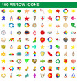 100 arrow icons set cartoon style vector image