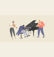 a man sings to accompaniment piano and violin vector image