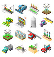 agricultural robots isometric icons vector image vector image