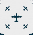 aircraft icon sign Seamless pattern with geometric vector image vector image