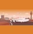 airport terminal building with aircraft taking off vector image vector image
